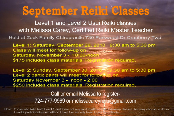 September Reiki Classes